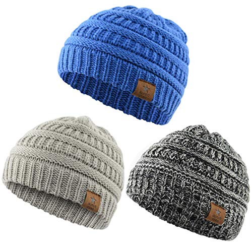 Century Star Christmas Beanie Baby Knit Hat Boys Infant Toddler Beanies Cute Winter Hats for Baby Unisex 3 Pack Dark Grey&Light Grey&Blue