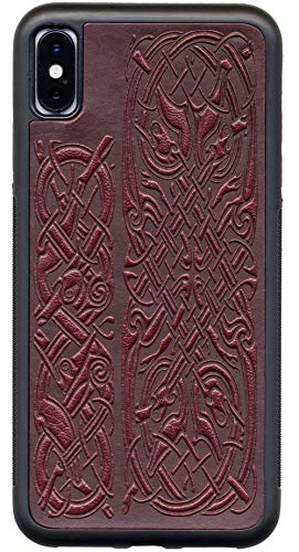 Oberon Design Leather iPhone Case for iPhone X & XS, Rugged, Flexible TPU iPhone Holder with Embossed Top Grain Cowhide Leather, Handcrafted in USA, Celtic Hounds (X - XS)