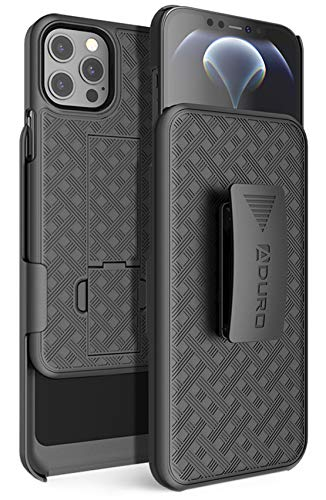 Aduro Combo Case & Holster for iPhone 12 Pro Max, Slim Shell & Swivel Belt Clip Holster, with Built-in Kickstand for Apple iPhone