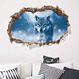 Wall Stickers , DIY 3D Snow Wolf Wall Decals Removable Decals Self-Adhesive PVC Decal Wall Murals Art Wallpaper Decor for Kids Bedroom Living Room