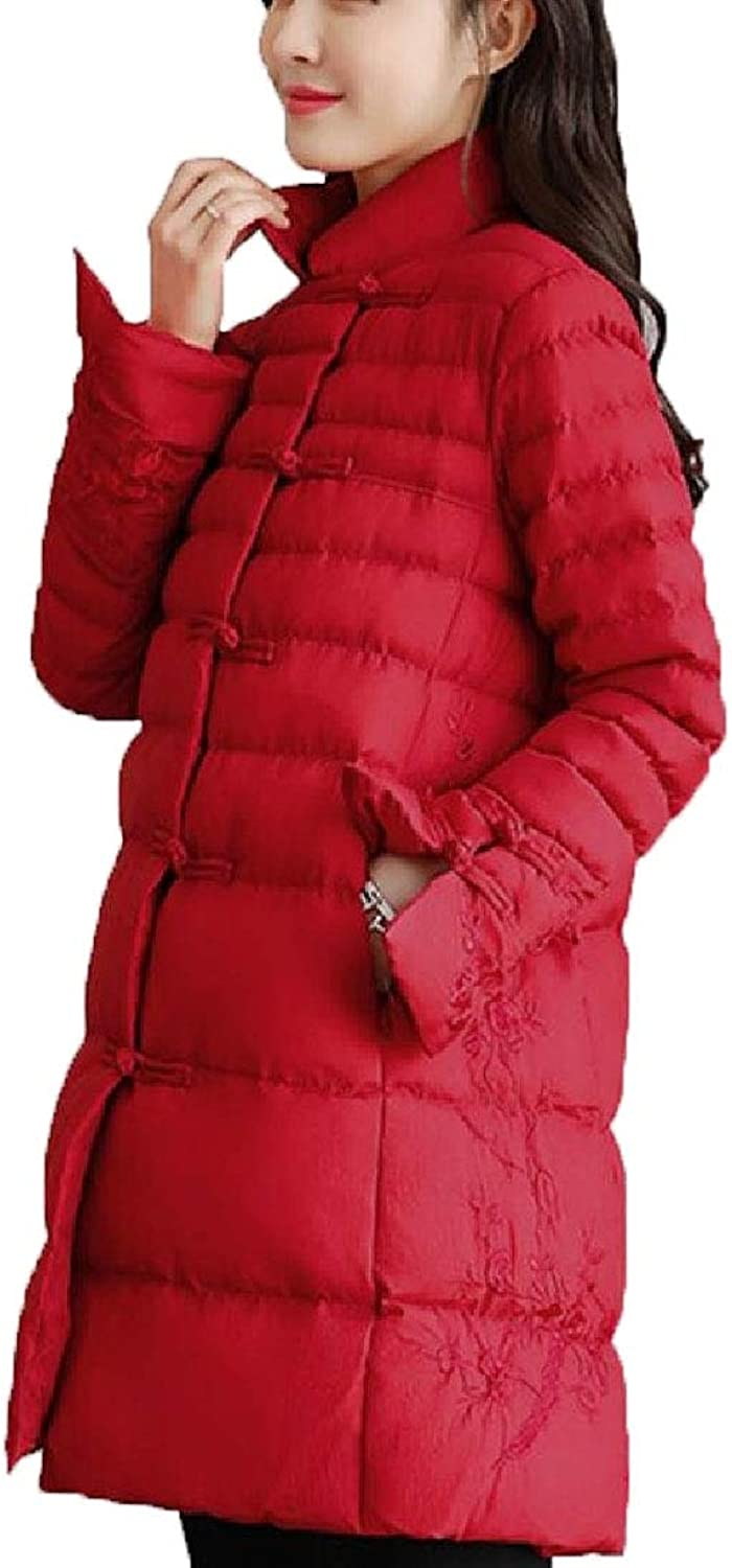 Esast Women's Stand Collar Coats Padded LongSleeved Warm Jacket A Line