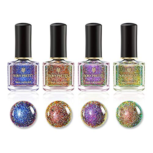 BORN PRETTY Nail Art Chameleon Cat Eye Nail Polish 4pcs Set 3D Magnetic Color Changing 6ml Manicure...