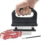 Fleischzartmacher, Fleisch Tenderizer Fleischklopfer mit Reinigungsbürste & 48 Edelstahl Ultra Sharp Nadel Klingen, Zartmacher Kochwerkzeug für Zartmachen Steak Rindfleisch/Schweinefleisch/Huhn