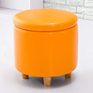 footstools ottomans Round Leather storage Foot stool Pouf Bench Seat,toy Box With Hinge Top Organizer Box Pouf Chest-a 42x...