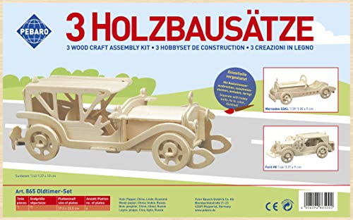 Pebaro Donau Elektronik _M865 Holzbausatz Set 3D Puzzle 3teiliges OldtimerSet