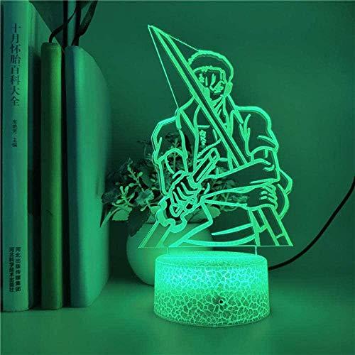 Lámpara de ilusión 3D Noche Luz LED ANIME MONOBLOC RORONOA ZORO Figura Niño Cumpleaños Regalo Dormitorio Dormitorio Decoración Festival de iluminación