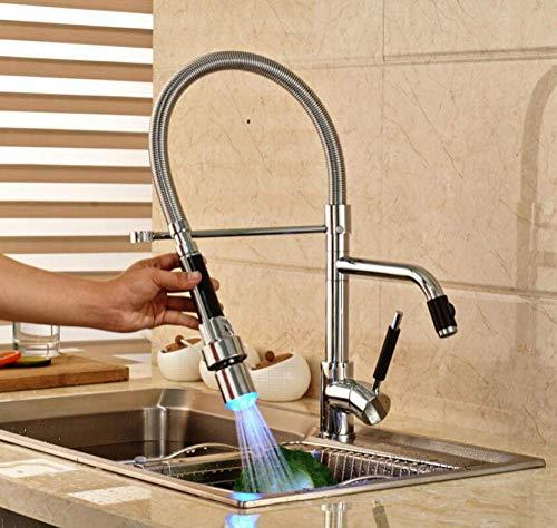 Spring-Loaded Keuken wastafel kranen met LED Single-Lever Hever Die Verander Kleur Gemonteerd Keuken Licht Mixer met RGB Licht