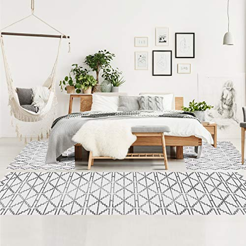Bettumrandung Schlafzimmer - Hochflor Teppich-Läufer 70x140cm/ 70x230cm in Creme - Teppiche im Ethno Skandi Stil