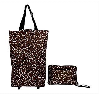 Bolsa de la carretilla de la compra plegable con las ruedas Bolsas de carro plegables con longitud ajustable de la manija (marrón)