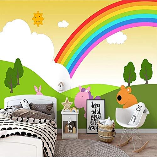 wandgemälde modern Grün Karikatur Regenbogen Kinder 3D Tapete Selbstklebender Poster Fototapete 3D Wandbilder Wall Art Tapeten Wandplakat Kinder Jungen Jugendliche Zimmer Kinderzimmer Schlafzimmer