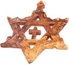 Holy Land Market Extra Large Messianic Star of David with Cross Olive Wood with Certificate (Star is 5 inches)
