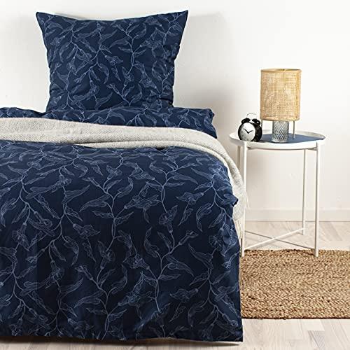 Arctic Bettwäsche Mako Satin 135x200 cm / 80x80 cm - 100prozent Baumwolle - Blaues Blumenmuster