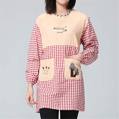 YXDZ Koreanische Mode Baumwolle Lappen Mit Langen Ärmeln Niedlichen Taille Hause Ölbeständige Kochoveralls Kittel Schürze Restaurant Overalls Rot