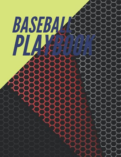 Baseball Playbook, Red grey black hexagon mesh metallic pattern background cover, 100 pages - Large(8.5 x 11 inches)