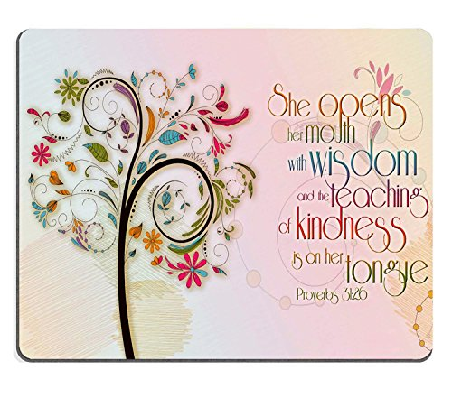 Wknoon Inspirational Christian Bible Verse Proberbs Quotes Mouse Pad, She Opens Her Mouth with Wisdom and The Teaching of Kindness is on Her Tongue Mouse Pads