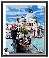 ARTomo【アトモ】パズル油絵『フレーム付き』数字 油画 DIY 塗り絵 本格的な油絵が誰でも簡単に楽しく描ける 40x50cm (ロマンチックなヴェネツィア)