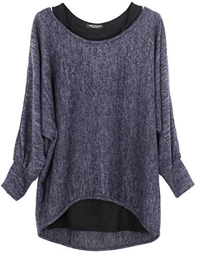 Emma & Giovanni - Damen Oversize Oberteile Tshirt/Pullover (2 Stück) / Made In Italy, L-XL, Blau