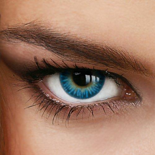 Farbige Jahres-Kontaktlinsen Rainbow BLUE - OHNE Stärke - BLAU - von LUXDELUX® - (+/- 0.00 DPT)