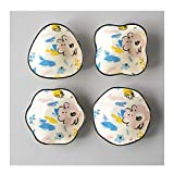 Bols à Tapas et Sauces Ramequin Vaisselle, 4 pièces en porcelaine des assiettes creuses Dîner en céramique plaques, soupe Idéal for les trempettes Sauce Assiettes à hors-d'oeuvre (Color : A)