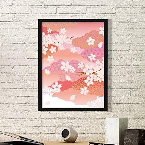 DIYthinker Cherry Bloesem Wolken Roze Patroon Eenvoudige fotolijst Kunst Prints Schilderijen Thuis Muursticker Gift