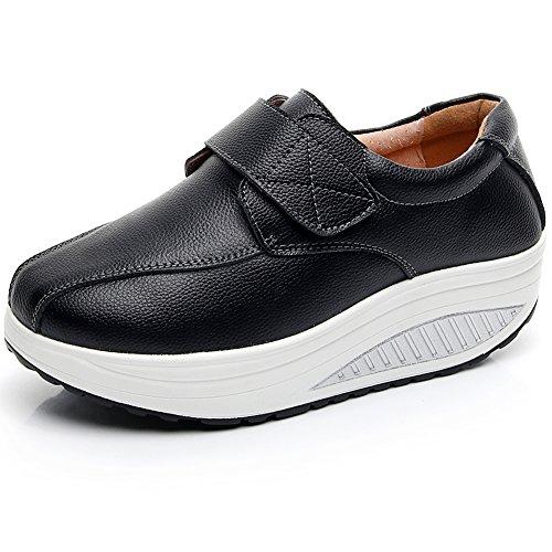 rismart Mujer Cuña Bucle Cómodo Linda Cuero Zapatillas Zapatos SN8787(Negro,EU37)
