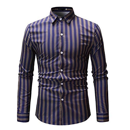 Men's Standard Regular-Fit Long-Sleeve Shirt Mens Business Casual All-Match Plaid Print Slim-fit Lapel Shirt Men's Slim-Fit Long-Sleeve T Shirt XXL