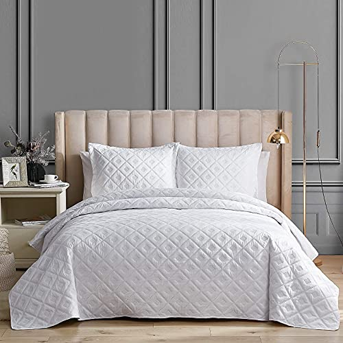 EHEYCIGA Quilt Set White King Size Bedspread Coverlet 3 Piece Summer Lightweight Reversible Quilt Bedspread with 2 Pillow Shams, Machine Washable Comforter Bedding Cover Sets-106x96 Inches