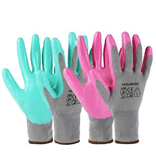 HAUSHOF 6 Pairs Garden Gloves for Women, Nitrile Coated Working Gloves, for Gardening, Restoration...
