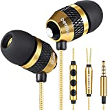 Betron B25 Earbuds with Microphone and Volume Control Powerful Bass Noise Isolating in-Ear Wired Headphones with 6 Silicon Earphone Tips Gold
