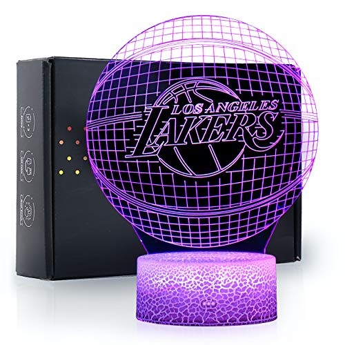 Ikavis 3D LED Night Light Lakers Basketball Flat Acrylic Illusion Lighting Lamp with 7 Colors and Touch Sensor, Sports Fan Nightlight Gift for Kids, Boys, Girls, Men or Women