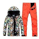 USTZFTBCL Tuta da Sci Uomo Giacca da Sci Pantaloni Tuta da Sci Invernale da Montagna Set da Snowboard Impermeabile Maschile color9 M