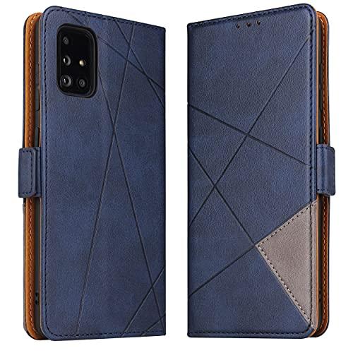 BININIBI Handyhülle für Galaxy A51 Hülle, Samsung A51 Lederhülle Handytasche Klapphülle Tasche Leder Schutzhülle für Samsung Galalxy A51 (Blau)