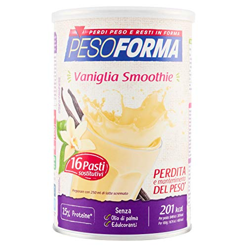 Pesoforma Smoothie Pasti Sostitutivi Dimagranti Shake Vaniglia, Ricco in Fibre, SOLO 201 Kcal per pasto - 16 Pasti - 440 Gr