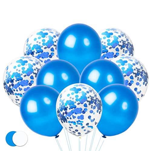 TK Gruppe Timo Klingler 50x Luftballons Ø 35 cm Ballons, Konfetti Confetti blau Helium geeignet Latexballons als Dekoration, Partydekoration für Hochzeit, Geburtstag (50x Konfetti blau)