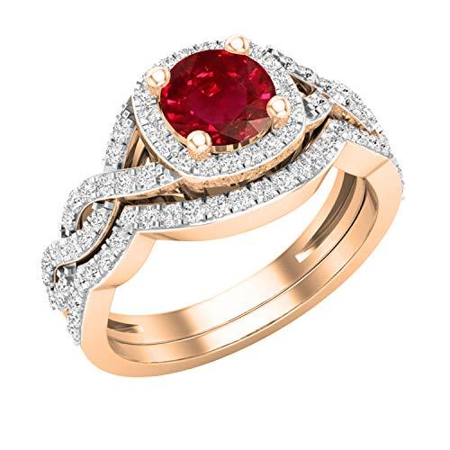 Dazzlingrock Collection Juego de anillos de boda estilo halo infinito con diamantes blancos y rubíes redondos de 5,8 mm | oro rosa de 14 quilates, talla 8