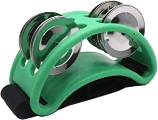 Timiy Percussion Foot Tambourine with Steel Jingles for Hand Instruments Burlywood(Green)