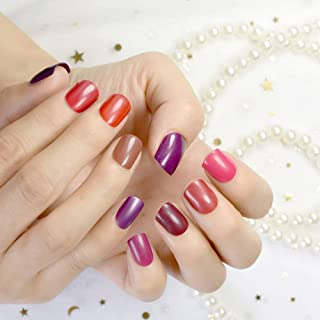 10 Sets Different Red Series False Nails Short Square Pure Color Purple Satin Acrylic Nails Wholesale 10 kits Simply Desig...