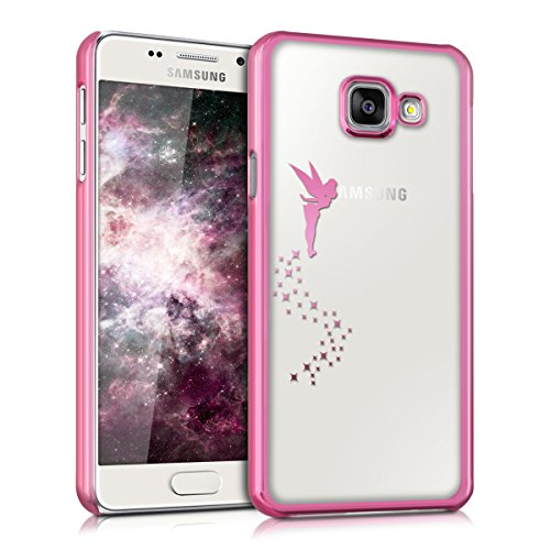 kwmobile Cover Compatibile con Samsung Galaxy A3 (2016) - Custodia Protettiva Cover in Silicone TPU Cristallo Trasparente - Back Cover Case Cellulare Fatina Fucsia/Trasparente