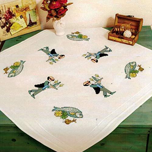 Kamaca Kamaca - Kit de punto de cruz para mantel de restaurante (80 x 80 cm, algodón, con plantilla de bordado), diseño de peces
