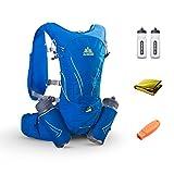 TRIWONDER Chaleco de Hidratación Ligero Superior 15L Mochila para Trail Running Ciclismo Marathoner Profesional Hombre Mujer (Azul - con 2 botellas de agua)
