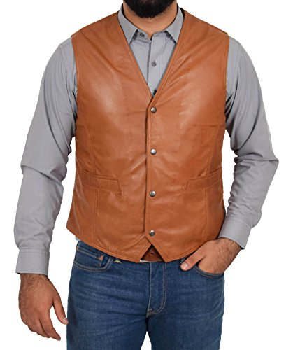 House Of Leather Chaleco de Cuero Real para Hombre