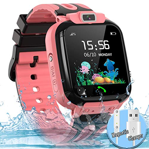 Kids Smart Watch Phone, LBS AGPS Tracker IP67 Waterproof Smartwatch for Boys Girls SOS Call Touch Screen Game Voice Chat Camera Digital Wrist Watch Birthday (Pink)