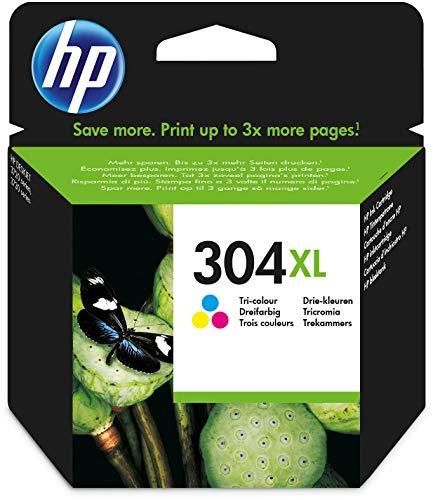 HP304XL N9K07AE Pack de1, Haut Rendement, Cartouche d'encre Authentique, Pour Imprimantes HP DeskJet et HP ENVY, Trois Couleurs (Cyan, Magenta et Jaune)