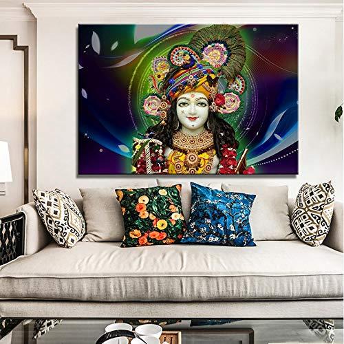 DIY Pintar por números Arte hindú moderno que pinta el mural de la sala de estar de Lord Krishna pintura digital por números kits sobre lienzo Con pincel y pintura acrílica pi40x60cm(Sin marco)