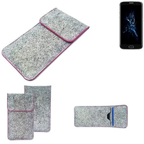 K-S-Trade Handy Schutz Hülle Für Bluboo Edge Schutzhülle Handyhülle Filztasche Pouch Tasche Hülle Sleeve Filzhülle Hellgrau Pinker Rand