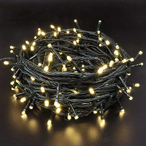 EXF 95FT 240 LEDs Christmas Lights, Upgraded Super Bright Mini Lights Indoor/Outdoor, 8 Modes Green Wire Twinkle Lights for Christmas Tree Decorations Wedding Garden (Warm White)