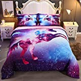 Wowelife 3D Galaxy Unicorn Comforter Sets Twin Mythical Animals Outer Space Bedding Set with Comforter, Flat Sheet, Fitted Sheet and 2 Pillow Cases for Teens(Galaxy Unicorn, Twin)