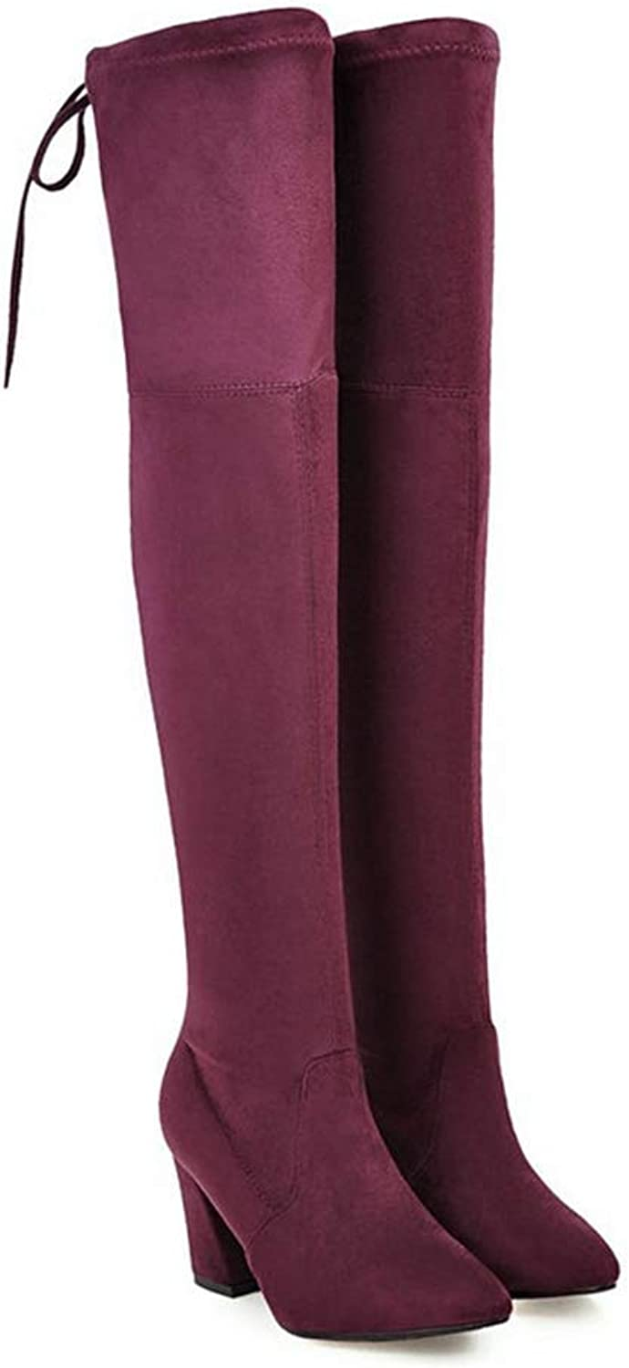 Women Boots High Heels Thigh High Boots Lace Up Stretch Winter Over The Knee Boots Ladies Long shoes