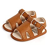Breathable Baby Girls Boys Sandals, Summer Infant Simple Style Solid Color Soft Rubber Sole (Brown, 6-12 Months)
