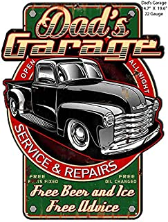 Dads Garage Truck Cut Out Metal Sign by Steve McDonald 14.7x19.6